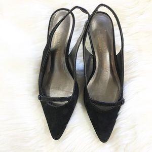 Talbots Black Genuine Suede Kitten Heels